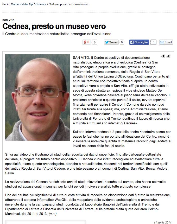 Corriere delle Alpi, 11:04:'14